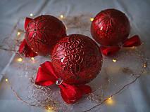 Dekorácie - ČERVENÉ vianočné guľe s 3D fotkou - 11392822_