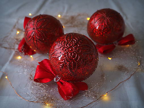 ČERVENÉ vianočné guľe s 3D fotkou