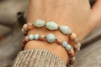 Náramky - DUO set náramkov akvamarín, slnečný kameň, jaspis - 11391323_