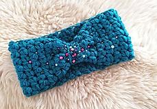 Ozdoby do vlasov - Tmavá tyrkysova čelenka s perličkami - 11394170_