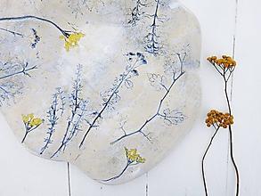 Nádoby - Keramická misa na ovocie plytká, modrá, žltá - 11396791_