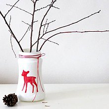 Dekorácie - Váza, srnka - 11395500_