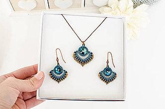 Náhrdelníky - šitý náhrdelník  ALADINOVA CESTA (modrá, bronz) - 11394603_