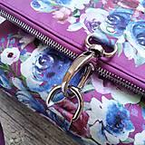 Kabelky - Kabelka DINKY bag - ružová s potlačou maľovaných kvetov - 11396493_