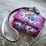 Kabelky - Kabelka DINKY bag - ružová s potlačou maľovaných kvetov - 11396494_