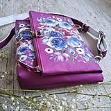 Kabelky - Kabelka DINKY bag - ružová s potlačou maľovaných kvetov - 11396496_