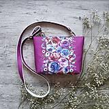 Kabelky - Kabelka DINKY bag - ružová s potlačou maľovaných kvetov - 11396498_