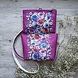 Kabelky - Kabelka DINKY bag - ružová s potlačou maľovaných kvetov - 11396499_