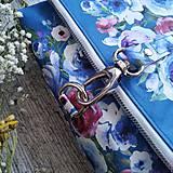 Kabelky - Kabelka DINKY bag - modrá s potlačou maľovaných kvetov - 11396522_