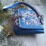 Kabelky - Kabelka DINKY bag - modrá s potlačou maľovaných kvetov - 11396523_