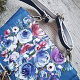 Kabelky - Kabelka DINKY bag - modrá s potlačou maľovaných kvetov - 11396525_