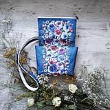 Kabelky - Kabelka DINKY bag - modrá s potlačou maľovaných kvetov - 11396527_
