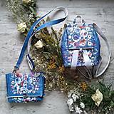 Kabelky - Kabelka DINKY bag - modrá s potlačou maľovaných kvetov - 11396534_