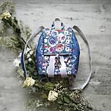 Batohy - CANDY backpack - modrá s potlačou maľovaných kvetov - 11396611_