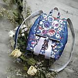 Batohy - CANDY backpack - modrá s potlačou maľovaných kvetov - 11396616_