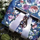 Batohy - CANDY backpack - modrá s potlačou maľovaných kvetov - 11396617_