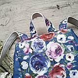 Batohy - Ruksak CANDY backpack - modrá s potlačou maľovaných kvetov - 11396618_