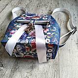 Batohy - CANDY backpack - modrá s potlačou maľovaných kvetov - 11396620_
