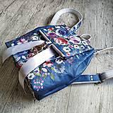 Batohy - CANDY backpack - modrá s potlačou maľovaných kvetov - 11396622_