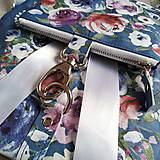Batohy - Ruksak CANDY backpack - modrá s potlačou maľovaných kvetov - 11396623_
