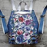 Batohy - CANDY backpack - modrá s potlačou maľovaných kvetov - 11396626_