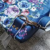 Batohy - Ruksak CANDY backpack - modrá s potlačou maľovaných kvetov - 11396628_