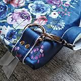 Batohy - CANDY backpack - modrá s potlačou maľovaných kvetov - 11396628_