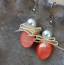 Náušnice - perleťové lososové krásky - 11395732_
