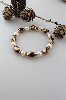 Náramky - hematit a perly náramok - 11395242_
