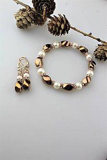 Sady šperkov - hematit a perly náramok a náušnice - 11395583_