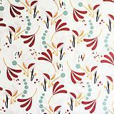 Textil - veľké zemité lístky, 100 % bavlna Francúzsko, šírka 150 cm - 11396328_