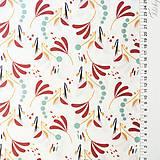 Textil - veľké zemité lístky, 100 % bavlna Francúzsko, šírka 150 cm - 11396329_