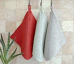 Úžitkový textil - Pletené chňapky - červená/mätová/sivá (Mint) - 11396826_