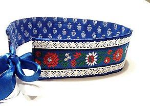 Opasky - Folk opasok modro biely ,obojstranný  - modrotlač - 11395384_