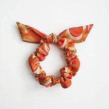 Ozdoby do vlasov - Recy-scrunchie oranžová - 11395901_