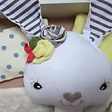 Hračky - Žltý zajko na spanie sada - denné šatky, pyžamko, postieľka - 11397099_