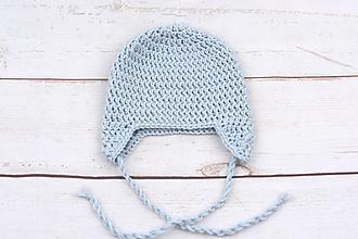 Detské čiapky - Bledomodrá ušianka EXTRA FINE - 11395536_