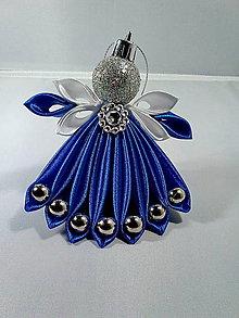 Dekorácie - Anjeličkovia na stromček v modrom - 11395000_