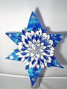Dekorácie - Kráľovská modra hviezda na vrchol stromčeka - 11397670_