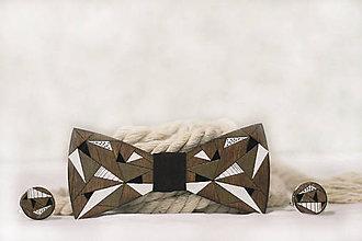 Doplnky - Drevený maľovaný motýlik Picasso + manžetové gombíky - 11395453_