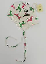 Detské čiapky - Čiapočka pre bábätko koníky biobavlna/bambus - 11395909_