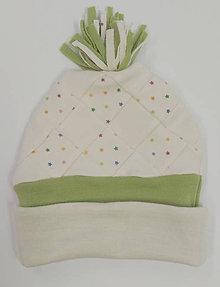 Detské čiapky - Dvojvrstvová patchwork merino čiapka - 11395674_