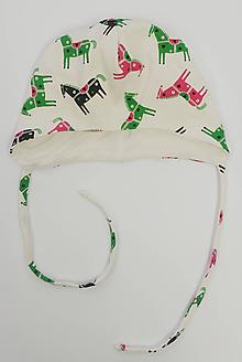 Detské čiapky - Čiapočka pre bábätko koníky biobavlna/bambus - 11395905_