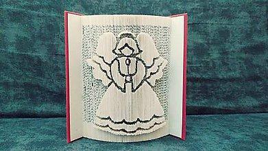 Dekorácie - Anjel, anjelik, anjelíče... na Vianoce či pre šťastie - vyskladaný z knihy - 11395031_