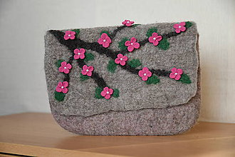 Kabelky - plstená kabelka - rozkvitnutá vetvička - 11397680_