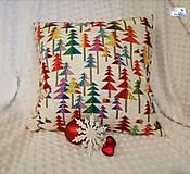 Dekorácie - Vianočné vankúše - obliečka - Vianočné stromčeky - 11395914_