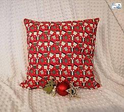 Dekorácie - Vianočné vankúše - obliečka - Darčeky na červenej, Darčeky na bielej (Obliečka - Darčeky na červenej + vložka) - 11395961_