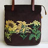 Veľké tašky - !! ZĽAVA!!! Menčestrová taška na veľ. A4 tmavohnedá / žlté kvety - 11396386_