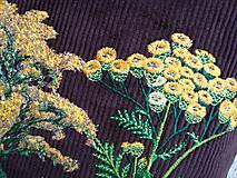 Veľké tašky - !! ZĽAVA!!! Menčestrová taška na veľ. A4 tmavohnedá / žlté kvety - 11396387_