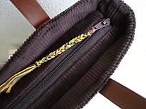 Veľké tašky - !! ZĽAVA!!! Menčestrová taška na veľ. A4 tmavohnedá / žlté kvety - 11396391_
